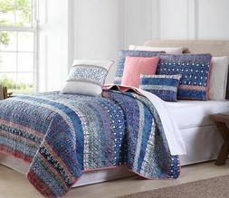 6 Piece Cairo Stripe Blue/Coral Quilt Set Full/Queen