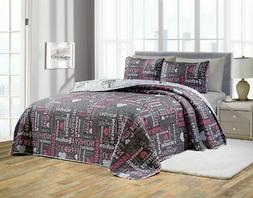 6 Piece Fashion Reversible Bedspread/Quilt with Sheet Set