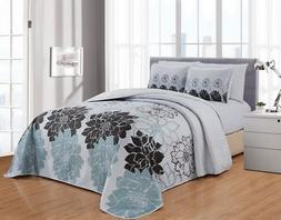 6 Piece Floral Bedspread/Quilt with Sheet Set