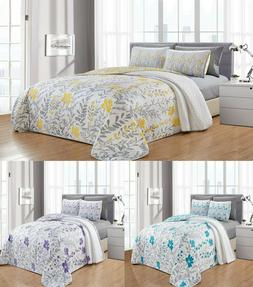 6 Piece Leah Printed Blooming Flowers Oversize Quilt Bedspre