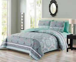 6 Piece Medallion Floral Patchwork Reversible Bedspread/Quil