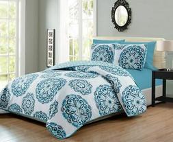 6 Piece Medallion Reversible Bedspread/Quilt Set