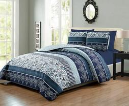 6 Piece Navy/White Paisley Reversible Bedspread/Quilt Set Qu