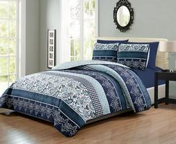 6 Piece Navy/White Paisley Reversible Bedspread/Quilt Set