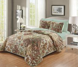 6 Piece Quilt Bedspread Set with Fitted Sheet Floral Design