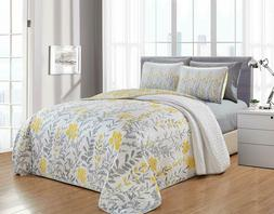 6-Piece Quilt Set Coverlet, Yellow Flower Pattern,For All Se