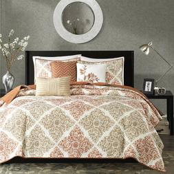 Madison Park  6-Piece Quilted Coverlet Set Warm Spice Multi