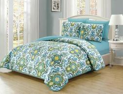 6 Piece Scroll Aqua/Green/Gold Reversible Bedspread/Quilt Se