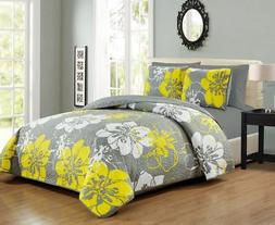 6 Piece Yellow/Gray/White Floral Reversible Bedspread/Quilt