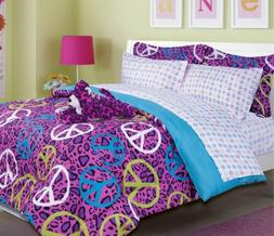 6 Pieces Purple with Peace Sign Twin Bedding Comforter & She