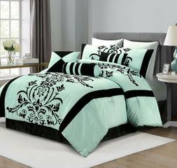7-Piece Aqua Blue Black Flocked Floral Comforter Set or  4pc