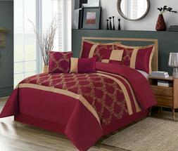 HIG 7 Piece Comforter Set, Taffeta Fabric Embroidered - Clar