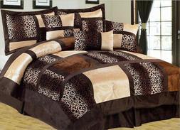7 Piece Leopard Patchwork Faux Fur Microfiber Comforter Set