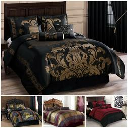 Chezmoi Collection 7-piece Luxury Jacquard Comforter Set Bla