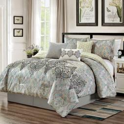 7 piece paisley scroll medallion embroidery comforter
