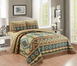 7 Piece Southwest Navajo Design Thin Quilt Bedspread Set w C