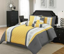 7 Pieces Striped Microfiber Comforter Set with Embroidered D