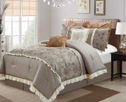 8-Pc Thalia Embroidered Roses Faux Linen Medium Taupe Bed-In