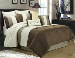 8-Piece Luxury Pintuck Pleated Stripe Brown, Ivory, and Taup