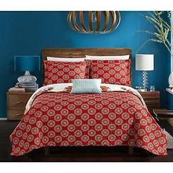 8 Piece Red White Orange Aqua Blue Queen Quilt Set Bohemian
