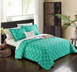 8 Piece Reversible Quilt Set Large-Scale Paisley/Geometric P