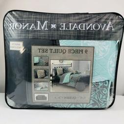 9 Piece Avondale Manor Amber Reversible Polyester Queen Quil