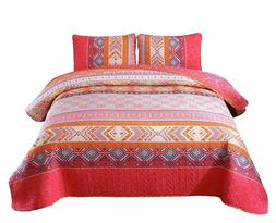 92''x88'' 100% Cotton 3-Piece Multicolored Boho Full/Queen S