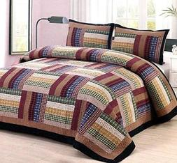 American Hometex Six Bars Queen Quilt Set