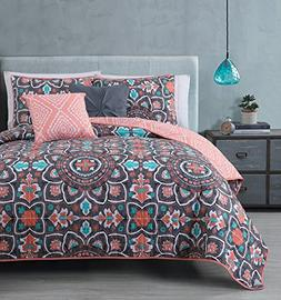 Avondale Manor 5-Piece Ibiza Quilt Set, Queen, Coral