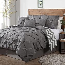 Avondale Manor 7-Piece Ella Pinch Pleat Comforter Set, King,