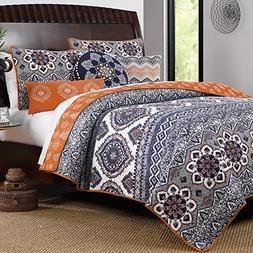 Boho Chic Moroccan Paisley Pattern Grey Orange Cotton 3 Piec