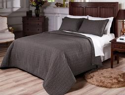 Chezmoi Collection 3-Piece Vintage Washed Solid Cotton Quilt