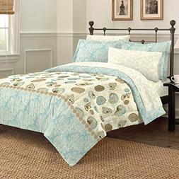 Discoveries Casual Sea Breeze Comforter Set, Queen, Blue