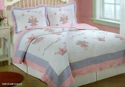 Fairy Princess Garden Twin Quilt with Pillow Sham