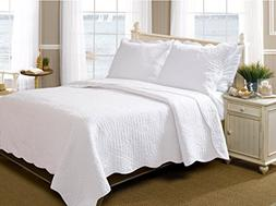 Greenland Home 3-Piece La Jolla Quilt Set, Full/Queen, White
