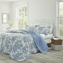 Laura Ashley Bedford Cotton Reversible Quilt Set, Twin