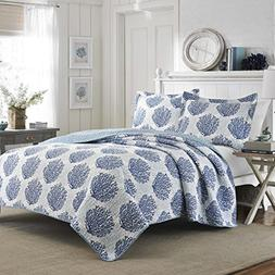 Laura Ashley Coast Seawater Quilt Set, Full/Queen, Coral