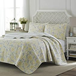 Laura Ashley Joy Reversible Quilt Set, King, Gray