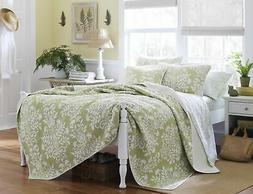 Laura Ashley Rowland Quilt Set, Full/Queen, Sage