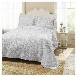 Laura Ashley Venetia Cotton Reversible Quilt, Full/Queen, Gr