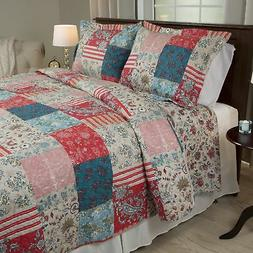 Bedford Home 3 Piece Mallory Quilt Set, Full/Queen