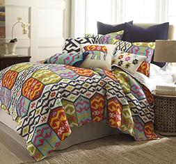Levtex home Malawi Quilt Set, Full/Queen, Navy, Orange, Gree