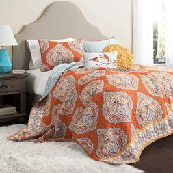 Lush Decor Harley Quilt Set Damask Pattern Reversible 5 Piec
