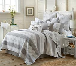 Nantucket King Quilt Set Stripe Coastal