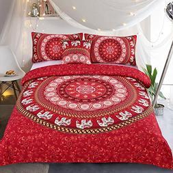 Sleepwish Red Elephant Mandala Bedding 4 Pieces Bohemian Ele