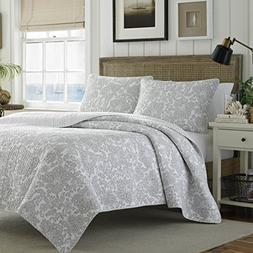 Tommy Bahama Island Memory Gray Quilt Set, Twin, Pelican Gra