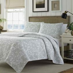 Tommy Bahama Island Memory Gray Quilt Set, King, Pelican Gra