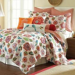 Levtex home Abigail Quilt Set, King, Orange, Blue, Red