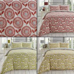 Ada Scandi Floral Duvet Quilt Cover Bedding Set - Spice Red,