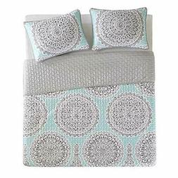 Comfort Spaces Queen Quilt/Coverlet Set - 3 Pieces - Blue/Aq